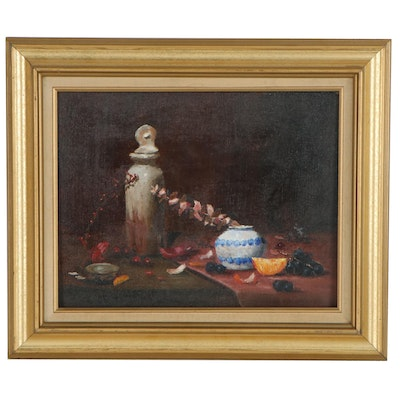 Chuck Harris Still Life Oil Painting of Fruits, Late 20th Century