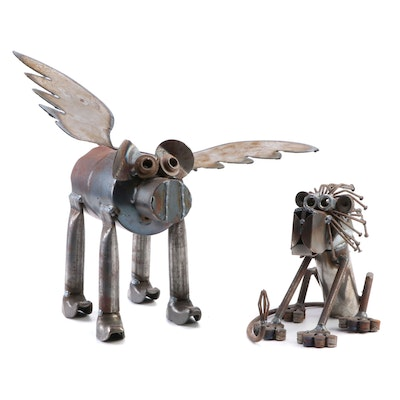 Found Metal Object Flying Pig Sculpture and Seated Lion Sculpture
