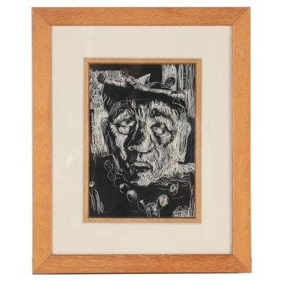 Scratchboard Drawing of Abstract Portrait, 1998