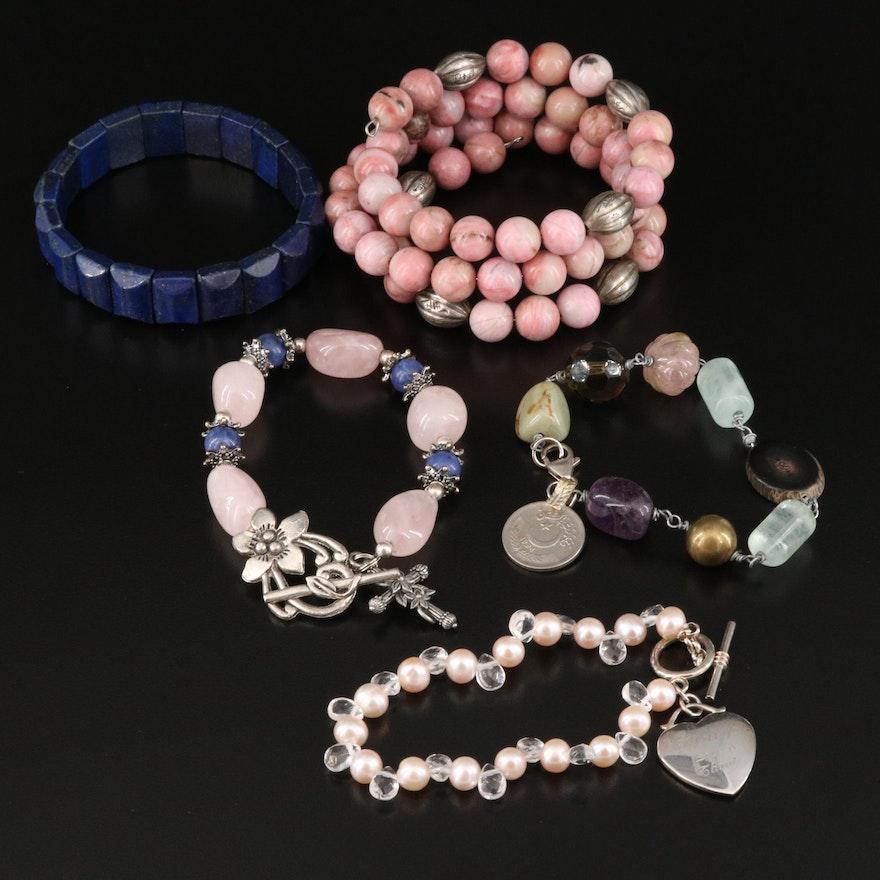 Bracelets Including Sterling, Rose Quartz and 1994 Pakistani Paisa Coin