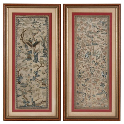 Chinese Hand-Embroidered Framed Landscape Tableau Silk Panels, circa 1925