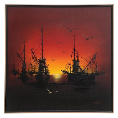 Nocturne Embellished Serigraph of Ships at Sea, Late 20th Century