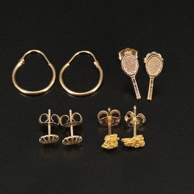 14K Mini Hoop and Stud Earrings Including Native Gold