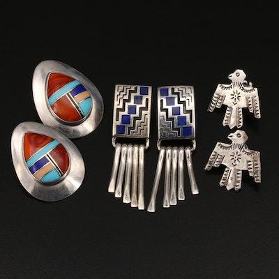 Southwestern Sterling Gemstone Earrings Including Temé