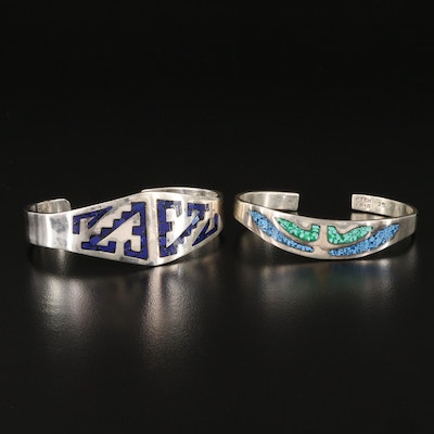 Taxco Sterling Silver Cuff Bracelets with Stone Inlay