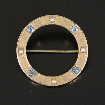 Vintage 10K Sapphire and Pearl Circle Brooch