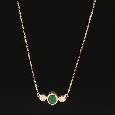 18K Bezel Set Emerald and Diamond Stationary Pendant Necklace