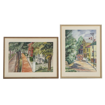 Watercolor and Casein Paintings of Street Views, Late 20th Century