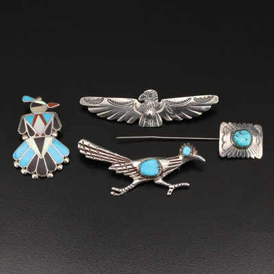 Southwestern Style Jewelry Including Sand Cast Road Runner Brooch