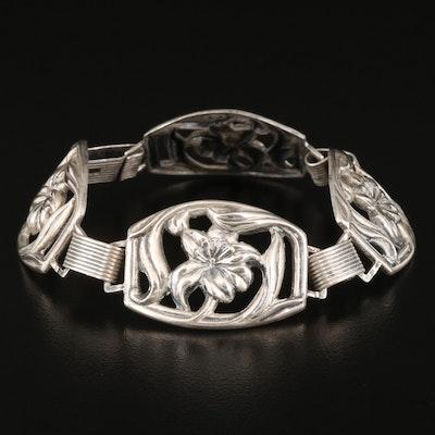 Vintage Sterling Silver Lily Bracelet