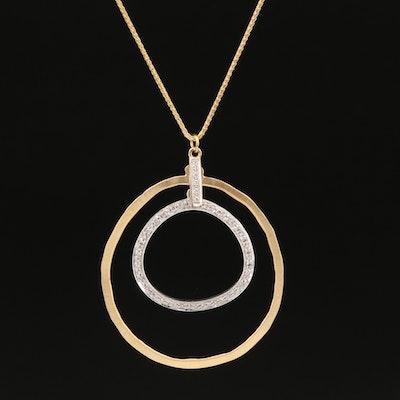 14K Diamond Concentric Pendant Necklace