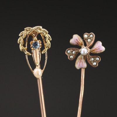 Vintage 10K Pearl, Sapphire and Gemstone Stick Pins