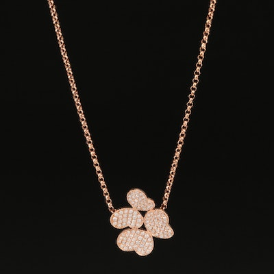 18K Rose Gold Diamond Butterfly Duo Necklace