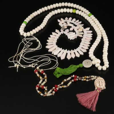 Bone, Shell and Glass Necklaces Featuring Mala Prayer Beads