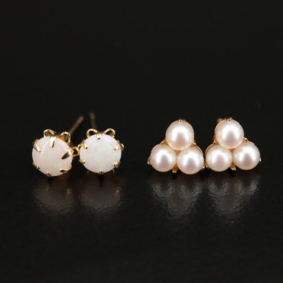 14K Pearl and Opal Stud Earrings