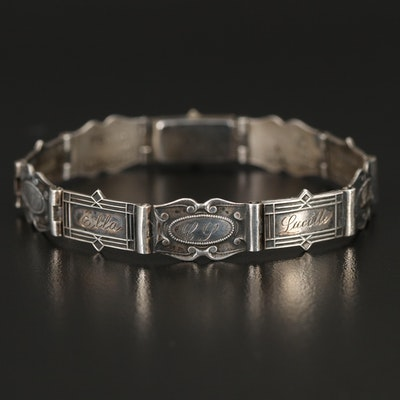 1940s Richards Sterling Forget-Me-Not Panel Bracelet