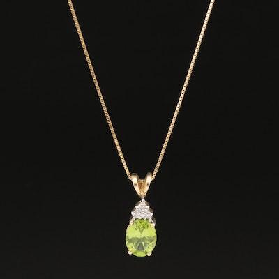 10K Peridot and Diamond Pendant on 14K Chain Necklace