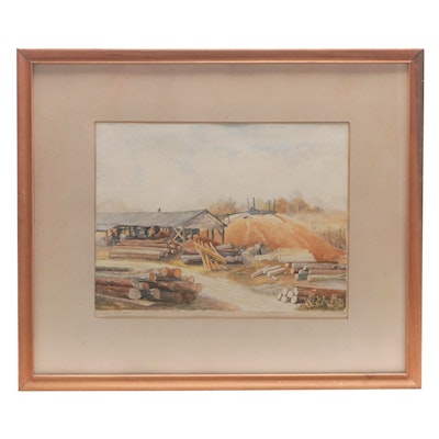 """J. Frank Hubbard Watercolor Painting """"Country Saw Mill,"""" 1949"""