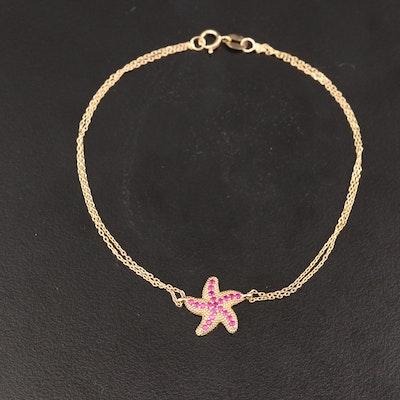 14K Ruby Starfish Bracelet