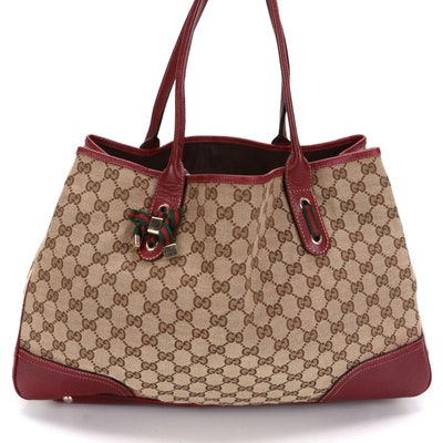Gucci Princy Tote in GG Canvas with Red Leather Trim