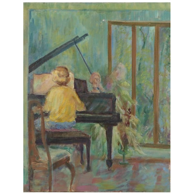 Oil Painting of a Pianist, Mid-Late 20th Century