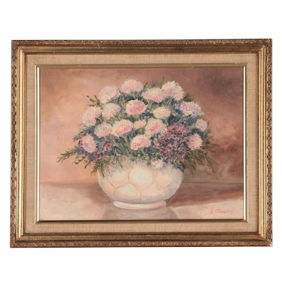Barbara Stearns Still Life Oil Painting of Flowers, 1987