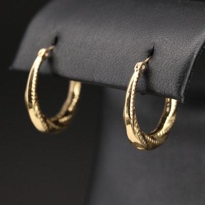 14K Textured Pattern Hoop Earrings