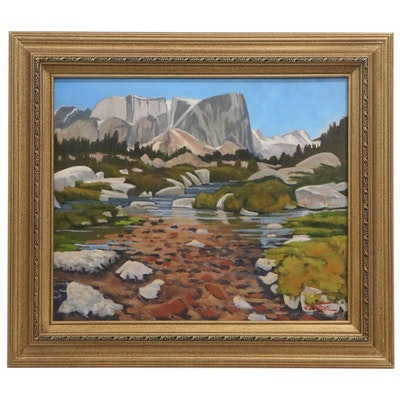 "Jim Leatham Plein Air Oil Painting ""Jessie's Trail - Wind River Range, Wyoming"""