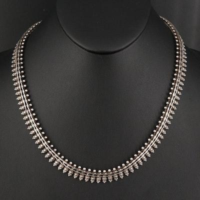 Vintage Sterling Silver Fancy Link Necklace