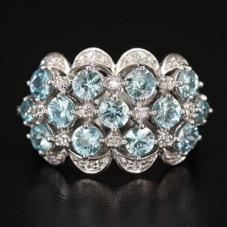 Sterling Zircon Cluster Ring