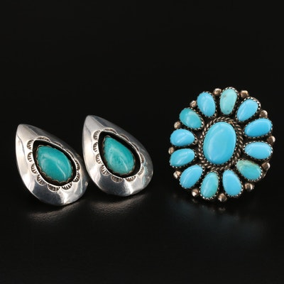 Southwestern Sterling Turquoise Shadowbox Earrings and Ring