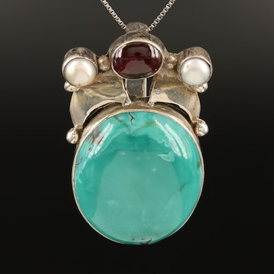 Sterling Turquoise, Garnet and Pearl Pendant Necklace