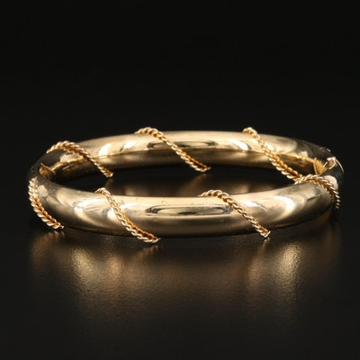 Vintage Hinged Oval Bangle with Twisted Wire Detail