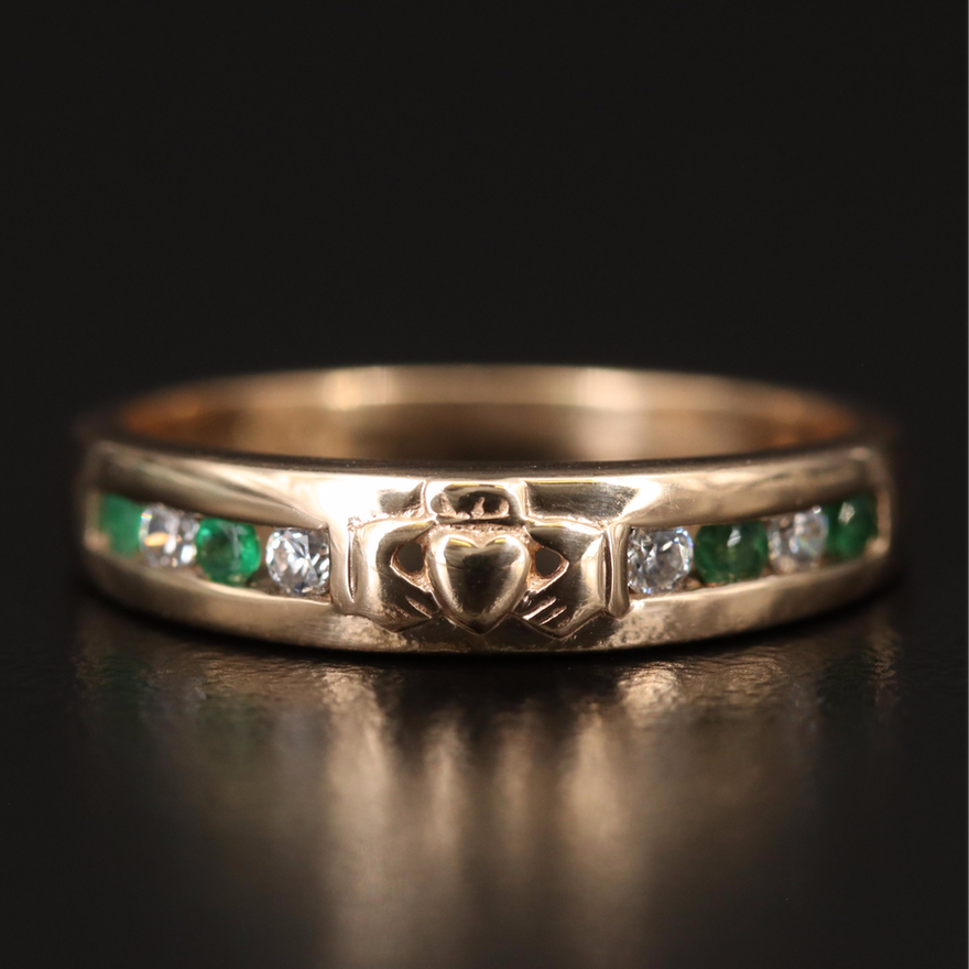 Vintage 14K Emerald and Cubic Zirconia Claddagh Band