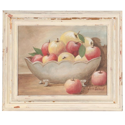 Denna Gothard Still Life Oil Painting of Apples, Circa 2000