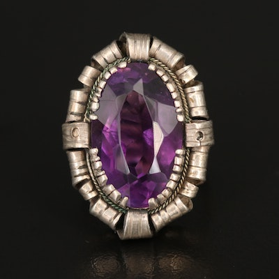 Sterling Oval Amethyst Solitaire Ring