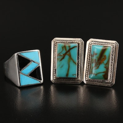 Southwestern Sterling Turquoise and Faux Black Onyx Ring and Cufflinks