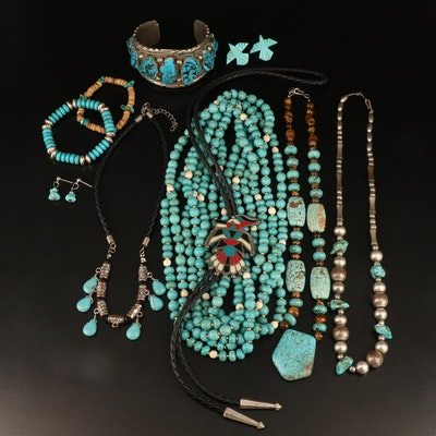 Southwestern Jewelry Including Turquoise and Sterling Expandable Bracelet
