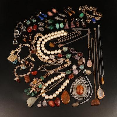 Gemstone Jewelry Including Amethyst, Faience and Jasper