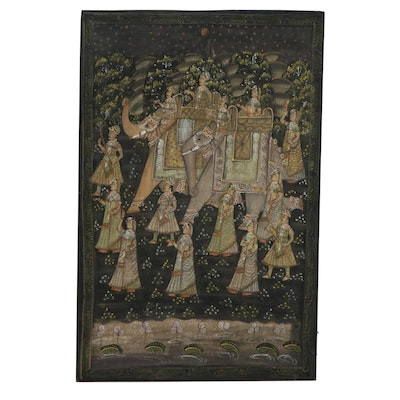 Handmade Indian Style Courtly Elephant Procession Cotton Batik, Late 20th C.