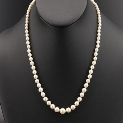 Vintage Graduated Pearl Necklace with 10K Diamond Clasp