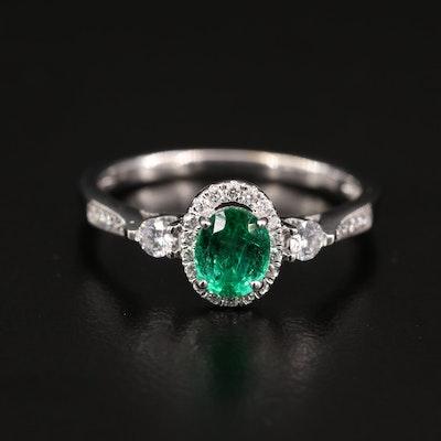 18K Emerald and Diamond Halo Ring