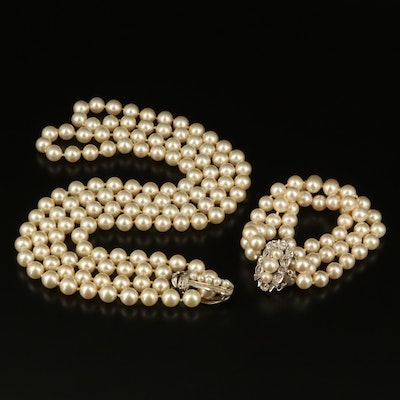 Faux Pearl Triple Strand Bracelet and Double Strand Necklace