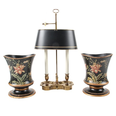 Bouillotte Table Lamp with Pair of Gilt Polychrome Ceramic Planters