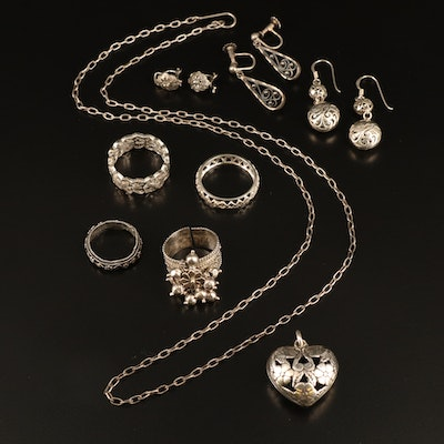 Jewelry Featuring Sterling Silver, Floral and Scrollwork Designs
