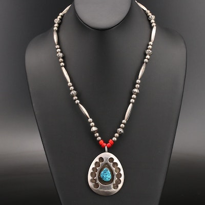 Southwestern Sterling Turquoise and Gemstone Necklace