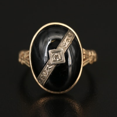 Antique 10K Black Onyx and Diamond Ring