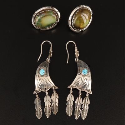 William G. Johnson Navajo Diné Turquoise Earrings with Western Feather Earrings