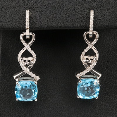 Sterling Diamond and Topaz Huggie Earrings with Removable Enhancers