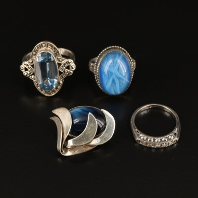 Sterling Rings and Brooch Featuring Spinel and Marcasite